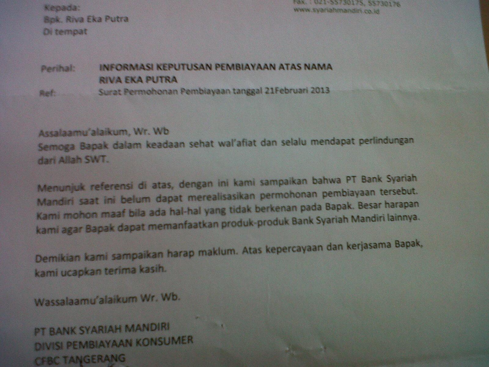 Blog 😀 , dibawah ini adalah foto contoh Surat penolakan dari BSM