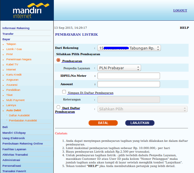 Cara Beli Pulsa Pln Prabayar Melalui Internet Banking Mandiri Blog